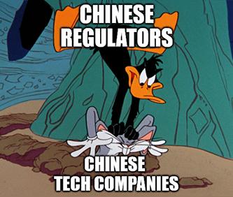 Chinese Regulators Daffy Duck meme