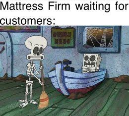 Mattress Firm Skeleton SpongeBob Meme