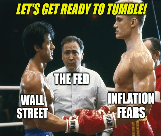 Fed Inflation and Wall Street Rocky Boxing Match Meme Big