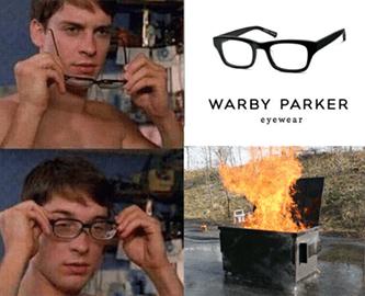 Warby Parker Toby Maguire Dumpster Fire Meme