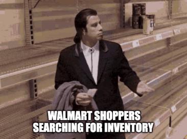 Walmart shoppers searching inventory HD Travolta meme