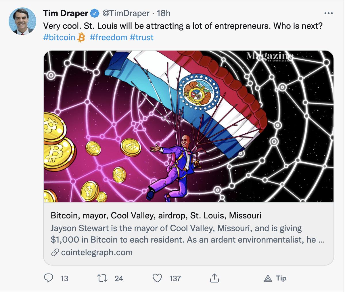 Tim Draper Tweet