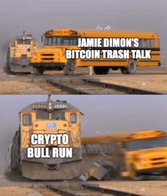 Jamie Dimon Crypto Bull Run Bus Crash Meme