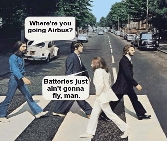 Airbus Beatles PLUG batteries ain't gonna fly meme big