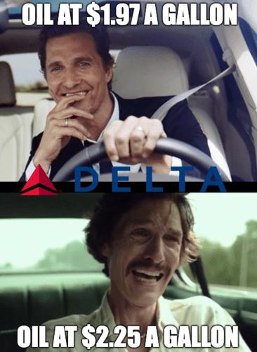 Delta oil Matthew driving DAL meme